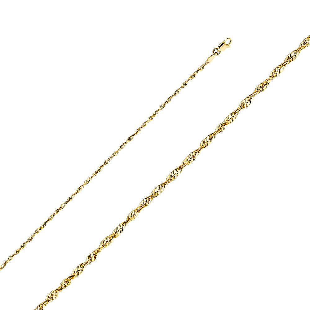 Wellingsale 14k Yellow Gold SOLID 2mm Polished Diamond Cut SOLID Rope Chain Necklace with Lobster Claw Clasp - 20''