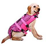 Dog Life Jackets, Ripstop Pet Floatation Life Vest for Small, Middle, Large Size Dogs, Dog Lifesaver Preserver Swimsuit for Water Safety at the Pool, Beach, Boating (Medium, Pink Mermaid)