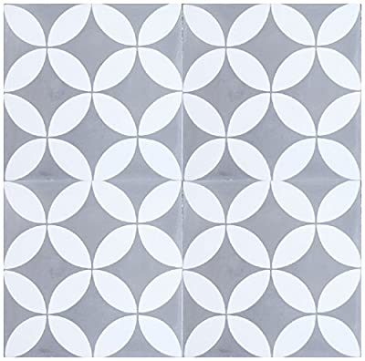 "Rustico Tile and Stone RTS5 Circulos WG Cement Tile Pack of 13, 8"" x 8, Gray/White"