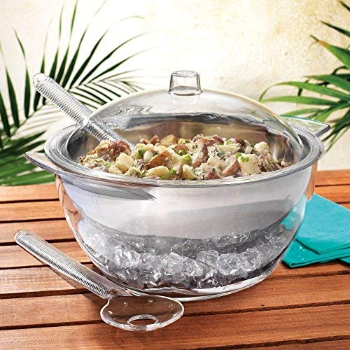 Home Essentials 5 PC Jumbo Stainless Steel Salad Bowl Set with Ice Chiller Base and Acrylic Dome Lid. ()
