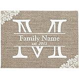 """Monogram Rustic Family Name Doormat Rubber Front Floor Door Mats Welcome Entrance Way Door Mats for Home 16 x 24"""""""