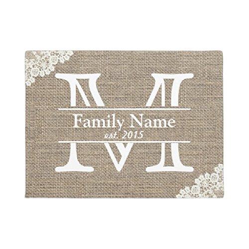 Family Door Mat (Monogram Rustic Family Name Doormat Rubber Front Floor Door Mats Welcome Entrance Way Door Mats for Home 16 x 24