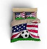 Gorgeous American Flag Football Soccer Cotton Microfiber 3pc 80''x90'' Bedding Quilt Duvet Cover Sets 2 Pillow Cases Full Size