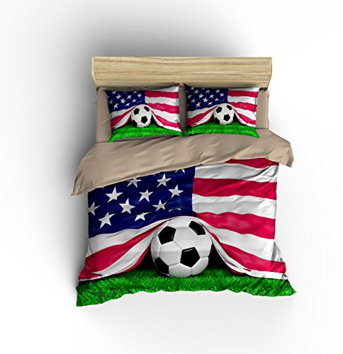 Gorgeous American Flag Football Soccer Cotton Microfiber 3pc 80''x90'' Bedding Quilt Duvet Cover Sets 2 Pillow Cases Full Size by DIY Duvetcover