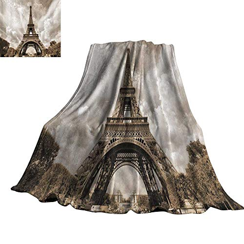 WinfreyDecor Paris Decorations Collection Living Room/Bedroom Warm Blanket Eiffel Tower UNESCO World Heritage Attraction Site France City Cityscape 90