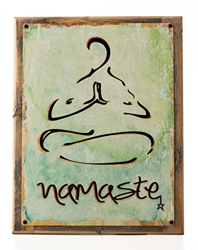 Cheap Namaste Metal Sign Framed on Rustic Wood, health and well-being, yoga, Sanskrit, Hindi, greeting