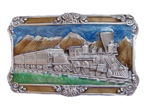 Train Scene Colored Novelty Belt Buckle