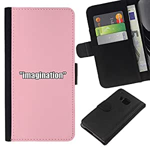 OREGON-X ( NO PARA HTC ONE MINI M4) Foto Ranura Tarjeta Cuero Ranura Tarjeta Voltear Duro Funda TPU Carcasas Para Smartphone HTC One M7 imaginación rosa