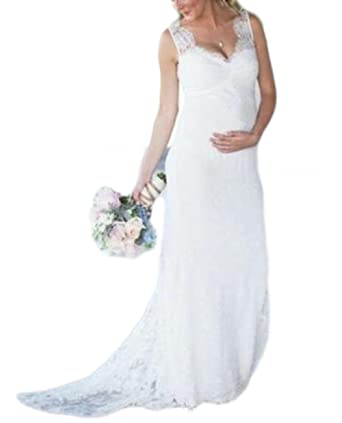 f49cf6e0fc Veilace Women's Lace Maternity Wedding Dress V Neck Empire Waist ...