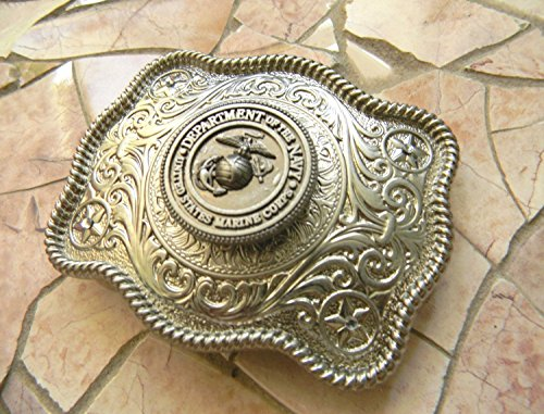 Marine Silver Concho Belt Buckle, Western Womens Mens Military Belt Buckle, USMC Marine - Concho Buckle