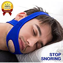 SALMAPH Stop Snoring CPAP Chin Strap and Anti Snoring Solution,Adjustable Anti-Snore Supporter Device(Blue)
