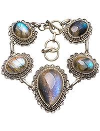 "StarGems(tm) Natural Top Quality Blue Fire Labradorite Boho 925 Sterling Silver Bracelet 6 1/2-7 1/2"""