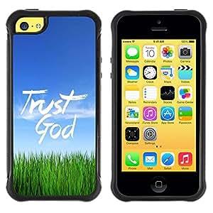 LASTONE PHONE CASE / Suave Silicona Caso Carcasa de Caucho Funda para Apple Iphone 5C / BIBLE Trust God