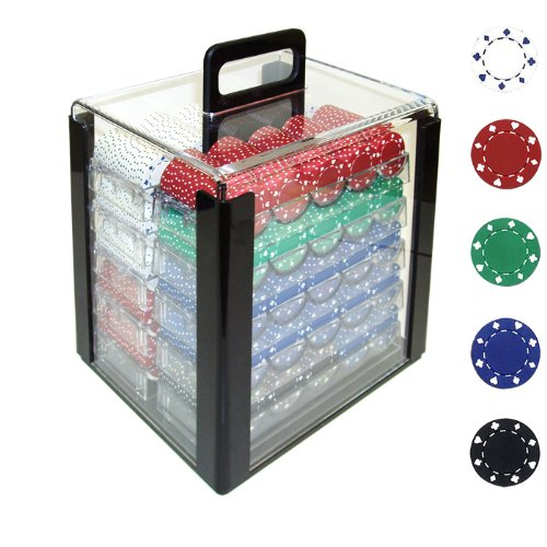 Trademark 1000 11.5 Gram Suited Design Poker Chips In Acrylic Carrier, Clear by Trademark Global