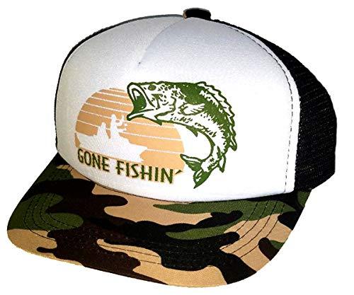 (ThatsRad 7-12 Year Kid's Gone Fishin' Fishing Camouflage Camo Snapback Mesh Trucker Hat Cap)