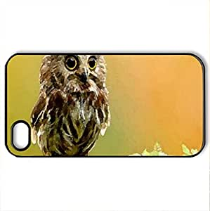 Baby Owl - Case Cover for iPhone 4 and 4s (Birds Series, Watercolor style, Black)