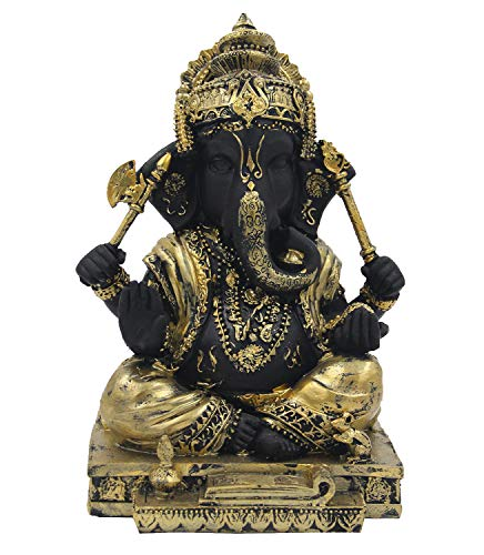 DharmaObjects Ganesh Ganesha Hindu Elephant God of Success Cold Cast Resin Statue (Gold, 9 INCHES)
