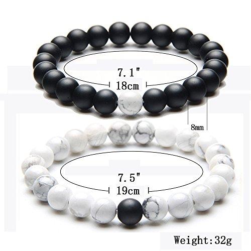 Distance Bracelet Enjoit Black Matte Agate & White Howlite Energy Stone Beads Bracelet Set Couple Jewelry
