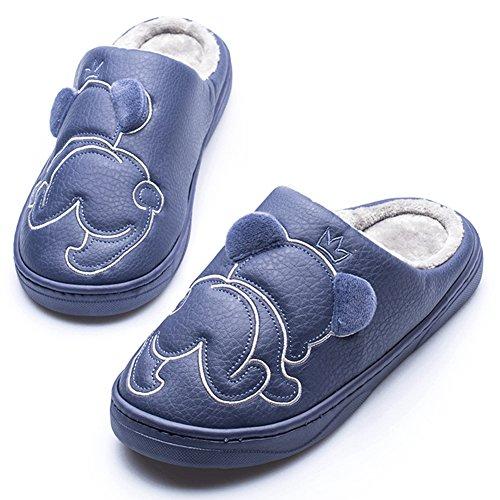 Ciabatta Bella Cartone Animato Caldo Cotone Pantofola Antiscivolo Fodera In Pelliccia Suola Spessa Blu Profondo