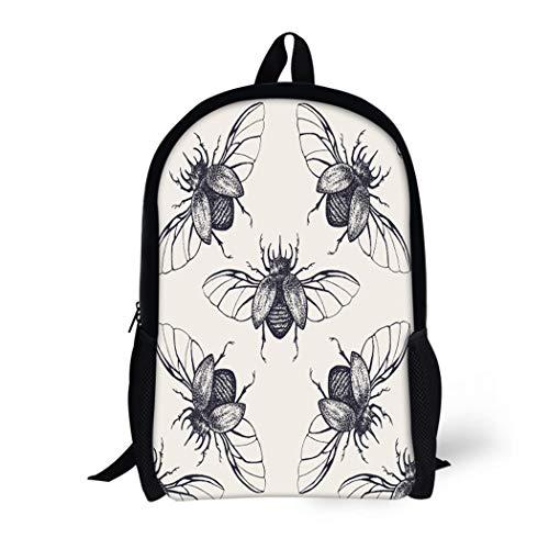 Pinbeam Backpack Travel Daypack Pattern Beetles Wings Vintage Bug Halloween Antique Biology Waterproof School Bag ()