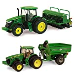 Bundle Includes 2 Items - Ertl John Deere 8320R Tractor With J & M Grain Cart, 1:64 Scale and Ertl Collectibles John Deere 7215R Tractor with Grain Drill
