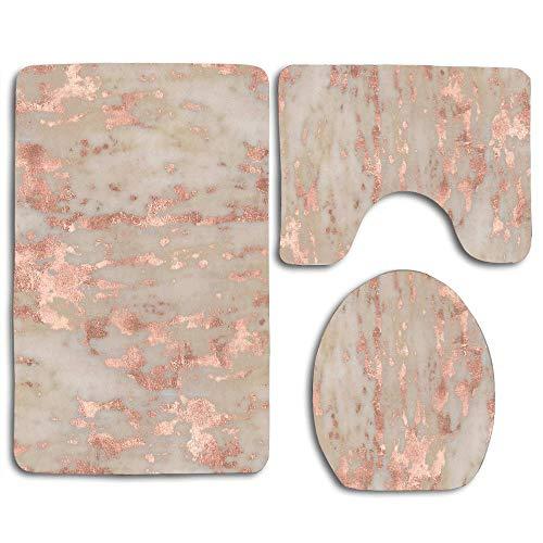 (Bathroom Rug Set Contour Rug (Set of 3) Soft Non Slip Bath Mats U-Shaped Toilet Floor Mat, Bath Rug Set - Rose Gold Genoa Marble)
