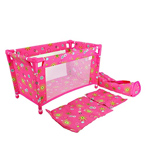 CUBY Doll Bed, Baby Toy Crib Playpen, Pack and Play Doll Furniture with Pillow, Blanket and Carry Bag Pink, 4 Pieces Set, Fits 18 Inch Dolls, Activities Gift for Kids ()