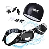 Swimming Goggles + Swim Cap + 3 Interchangeable Nose Bridge + Ear Plugs + Nose Clip,Swim Glasses No Leaking Anti Fog UV Protection for Men Women Youth By Yabmi