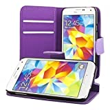 ECENCE Samsung Galaxy S5 mini slim wallet case cover + free display protection film included purple 41020108