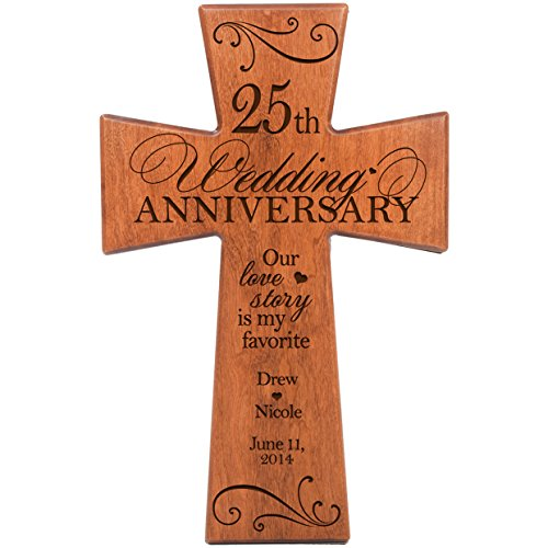 (LifeSong Milestones Personalized 25th Wedding Anniversary Cherry Wood Wall Cross Gift for Couple 25 Year for Her, Silver for Him Our Love Story is My Favorite (7x11))