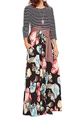 Womens Tie Bigyonger Dress Long Print Floral Striped Brown Waist Sleeve Pockets With Maxi RannS1q