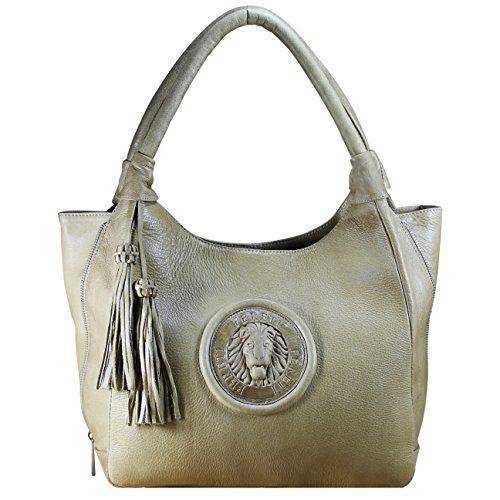 FERETI Donna Grande Borsa Tracolla Borsetta Spalla Mano Marrone Vera Pelle  Handbag Moda Donne Portafoglio Bag 370fdd13494