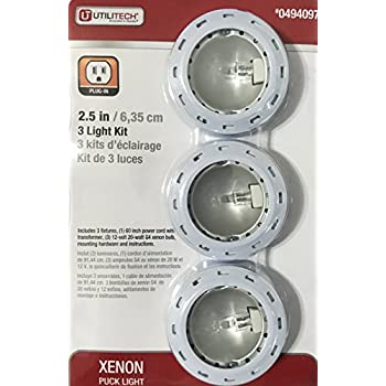 Utilitech xenon plug in puck light kit 3 pack amazon utilitech xenon plug in puck light kit 3 pack mozeypictures Choice Image