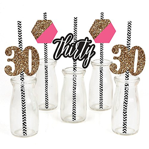 Chic 30th Birthday - Pink, Black and Gold Paper Straw Decor - Birthday Party Striped Decorative Straws - Set of 24