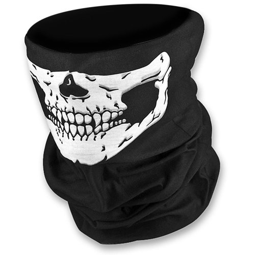 (HD Stretchable Windproof Black Tribal Classic Skull Soft Polyester Half Face Mask Snowboard Snowmobile Snow Ski Facemask Headwear)