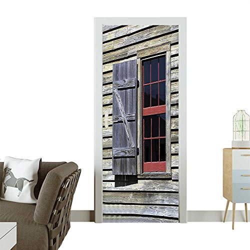 Homesonne Decorative Door Decal mOriginal Wooden Window Shutters in Historical Village Cottage Style Stick The Picture on The doorW23 x H70 INCH ()