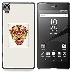 "Qstar Arte & diseño plástico duro Fundas Cover Cubre Hard Case Cover para Sony Xperia Z5 5.2 Inch (Not for Z5 Premium 5.5 Inch) (Perro psicodélico"")"