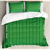 Ambesonne Football Duvet Cover Set King Size, Field of the Game Strategy Tactics End Zone Touchdown Sports Competition Theme, Decorative 3 Piece Bedding Set with 2 Pillow Shams, Green White