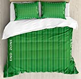 King Size Bed Measurements in Feet Ambesonne Football Duvet Cover Set King Size, Field of The Game Strategy Tactics End Zone Touchdown Sports Competition Theme, Decorative 3 Piece Bedding Set with 2 Pillow Shams, Green White