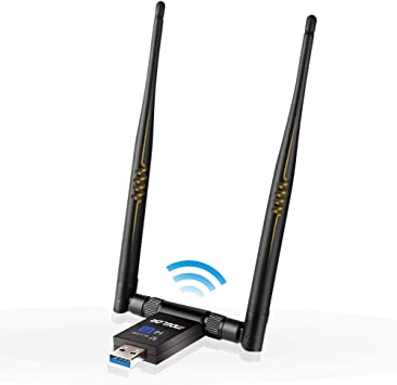 N/P Adaptador WiFi USB 3.0 Dongle Receptor Inalámbrico 1200Mbps Doble Banda 5GHz/867Mbps 2.4GHz/300Mbps Dual Antena 5dBi para PC/Desktop/Laptop ...