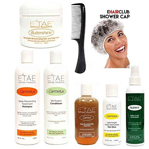 Etae Natural Products E'tae Carmelux Shampoo, Conditioner, Gloss, Carmel Treatment, Buttershine, Nutrient Replenisher Combo Kit (6 items) w/ Shower Cap and Comb by E'TAE Natural Products