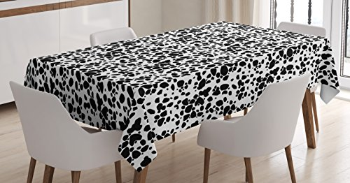 Dalmatian Dog Print Tablecloth by Ambesonne, Black and White Puppy Spots Fur Pattern Fun Spotted Pets Animal Decor, Dining Room Kitchen Rectangular Table Cover, 60 W X 90 L Inches, White Black - Print Tablecloth