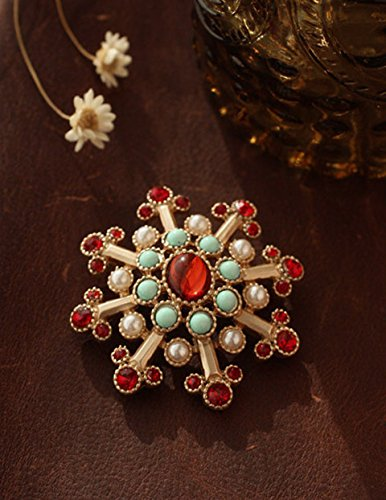 Custom 68 yuan foreign trade in Europe and America Fan child antique baroque palace colored gemstones pearl brooch women girls