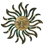 Premium LARGE SOLAR LIGHTED Metal Sun Face Outdoor Patio Wall Hanging (18.5'' Gold)