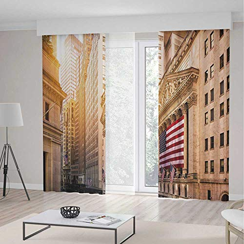 YOLIYANA Window Curtains United States Famous Wall Street Building New York Stock Exchange with Flags Urban