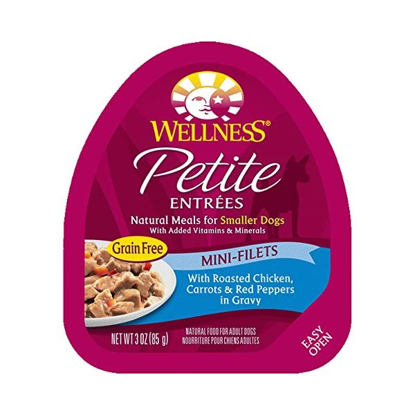 Wellness Petite Entrees Mini Filets Grain Free Natural Wet Small Breed Dog Food, Roasted Chicken, 3-Ounce Cup (Pack Of 24)