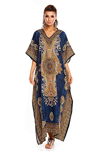 Robe Kimono Caftan Caftan Looking pour Neuf Oversize Taille Libre Glam Femmes Coupe Maxi 812 Tunique Turquoise S0wHqSv