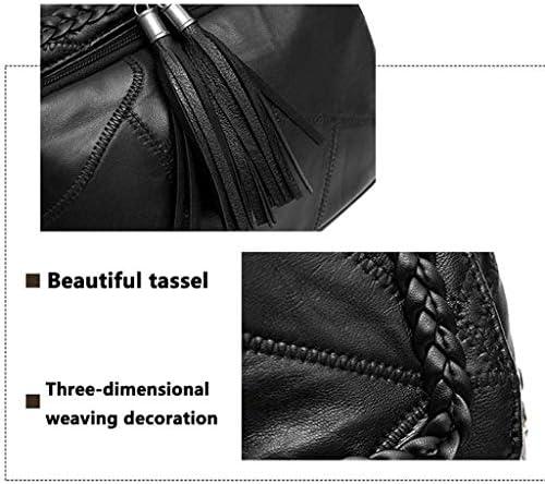 NCCDY Sac à Dos en Cuir Noir, Les Femmes Antivol Sac à Dos Sac PU Washed Sac en Cuir Mesdames Glands Convertible Rucksack d'épaule