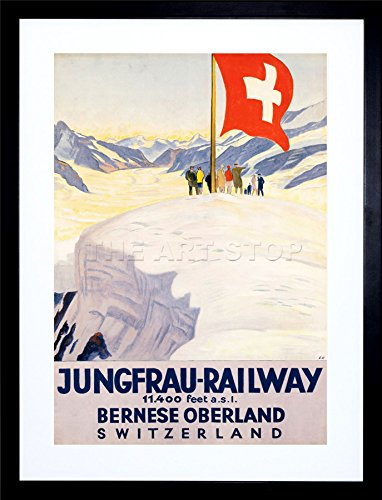 The Art Stop Travel Jungfrau Railway Swiss Flag Switzerland ALPS Frame Print Picture F12X1393 ()