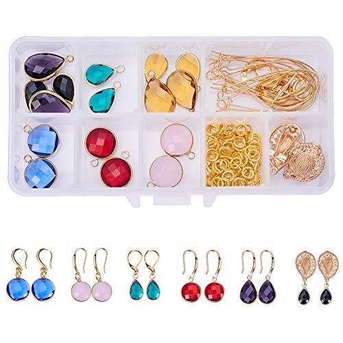 Faceted Gemstone Drop - SUNNYCLUE 1 Set 136pcs Golden Tone Brass Faceted Gemstone Tear Drop Dangle Earrings DIY Jewelry Making Starter Kit Include 16pcs Drop Pendant, 20pcs Earring Hooks Ear Wire and 10g 6mm Jump Rings
